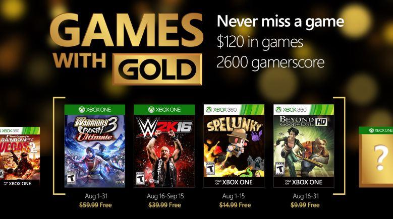 Juegos Agosto 2016 Xbox Live Gold